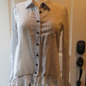 Anthro Odille pinstriped ruffle blouse size 6